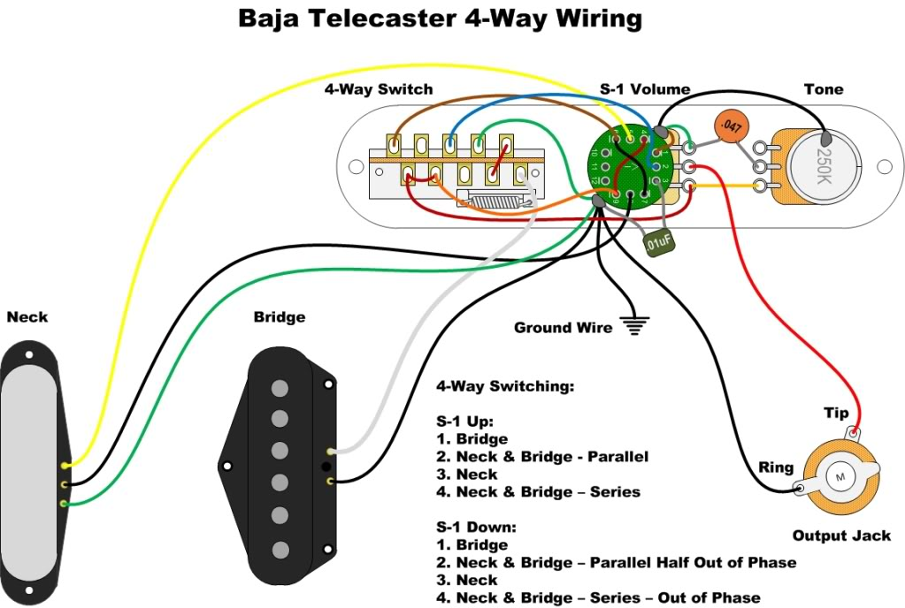 Tele Baja_4 way wiring schematic baja telecaster 4 way switch mod fender 4 way telecaster switch wiring diagram at crackthecode.co